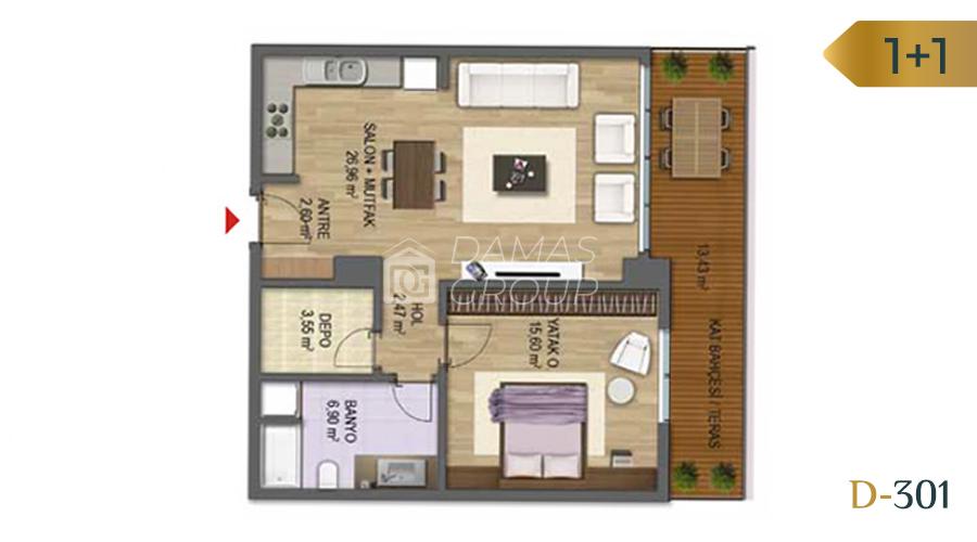Damas Project D-301 in Bursa - Floor Plan 01