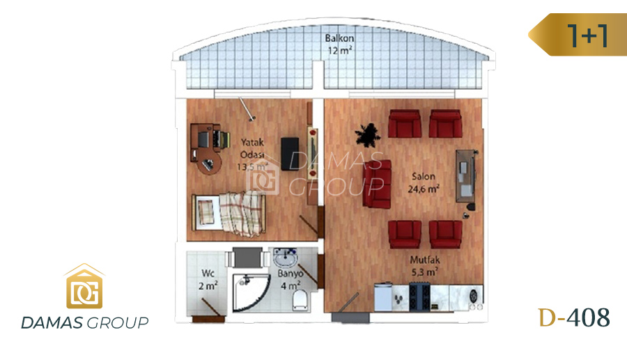 Damas Project D-408 in Trabzon - Floor Plan 01