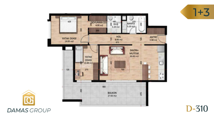 Damas Project D-310 in Bursa - Floor Plan 01