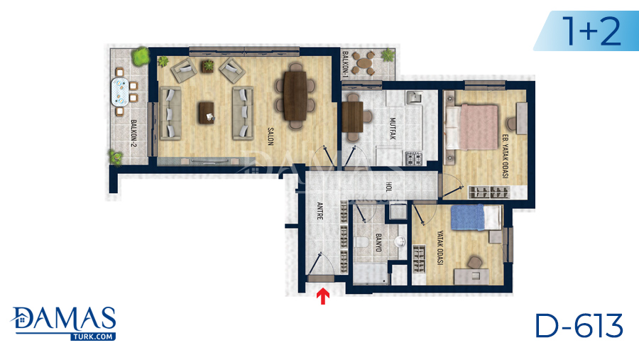 Damas Project D-613 in Antalya - Floor plan picture 02