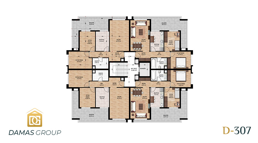Damas Project D-307 in Bursa - Floor Plan 01