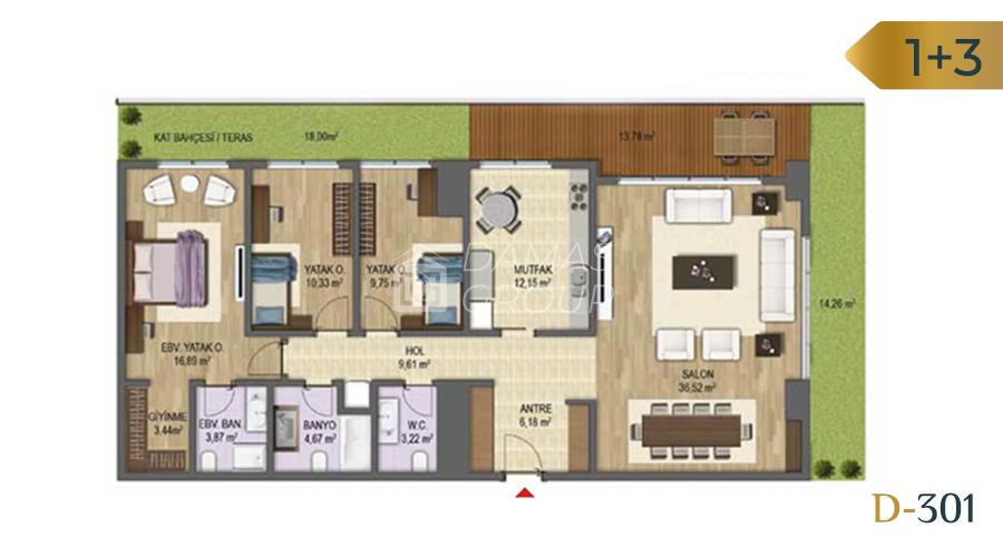 Damas Project D-301 in Bursa - Floor Plan 03