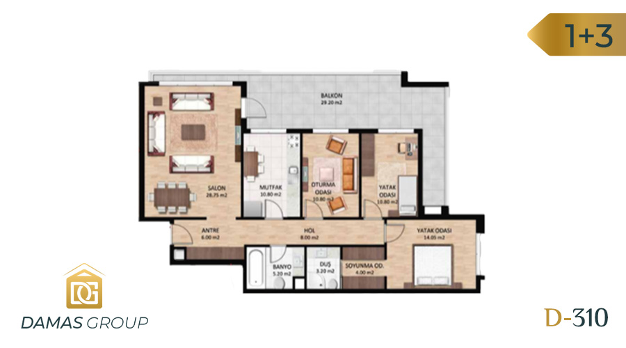 Damas Project D-310 in Bursa - Floor Plan 02