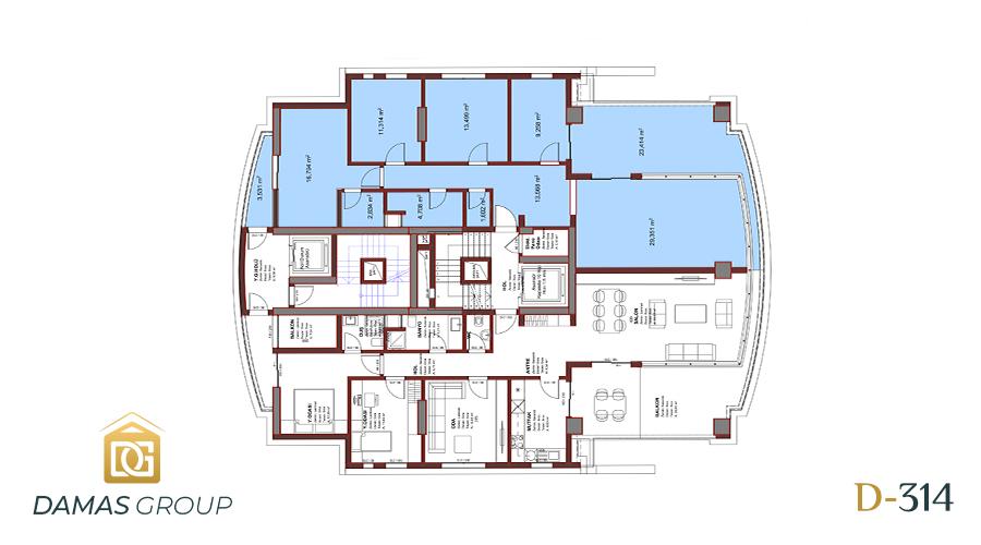 مجمع داماس 314 في بورصة  - صورة مخطط 01