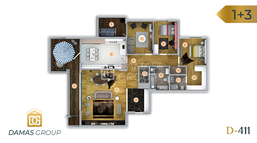 Damas Project D-411 in Trabzon - Floor Plan 01