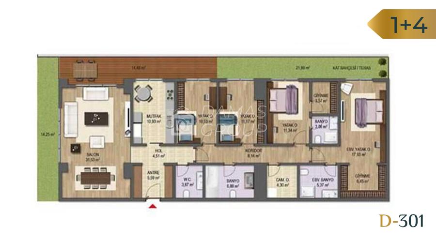 مجمع داماس 301 في بورصة  - صورة مخطط 04