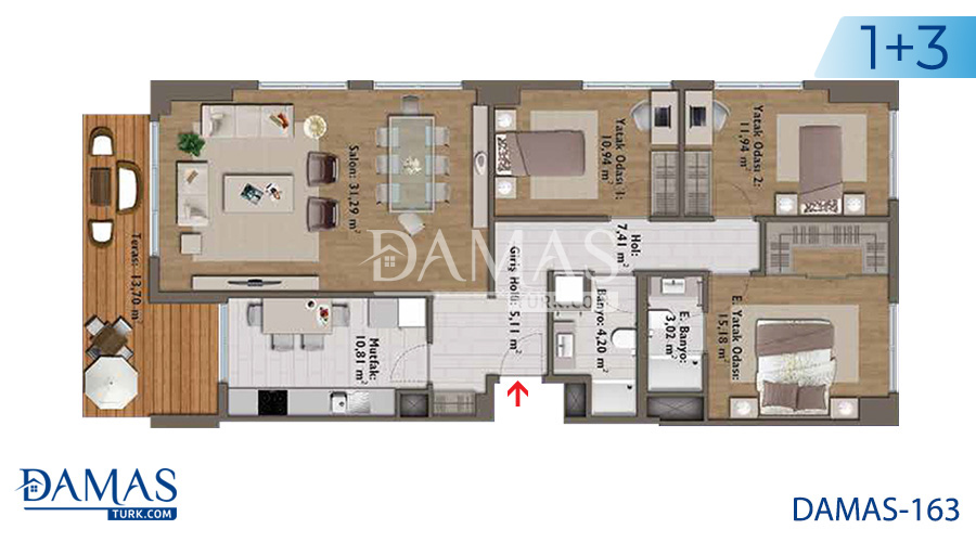 مجمع مجموعة داماس 163 في اسطنبول - صورة مخطط 04
