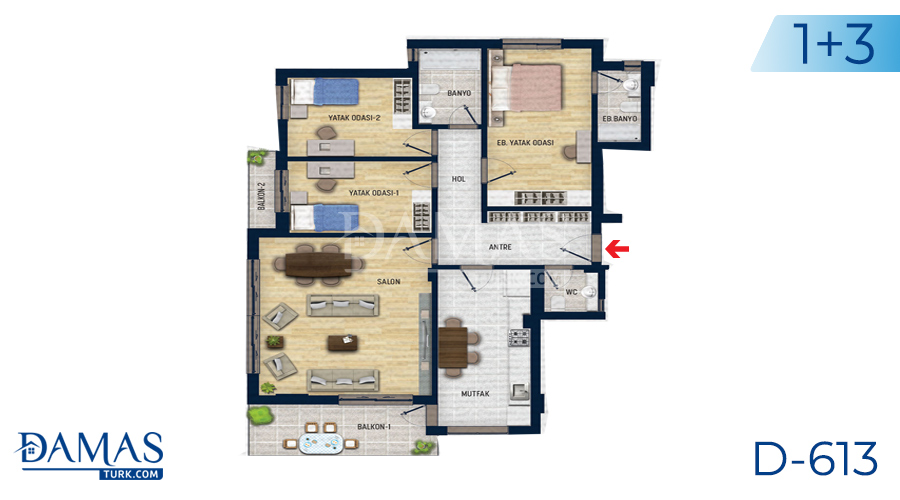 Damas Project D-613 in Antalya - Floor plan picture 04