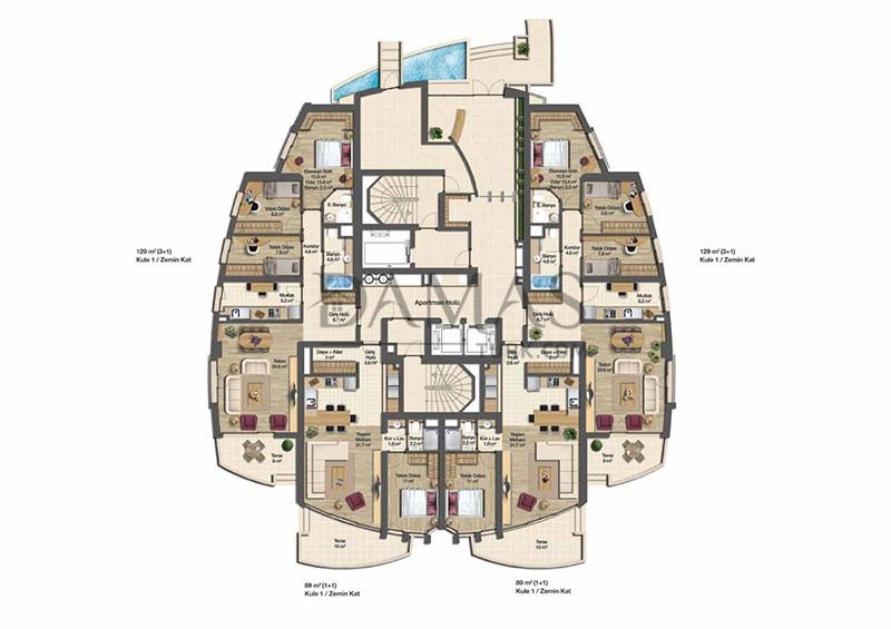 مجمع مجموعة داماس 206 في بورصة - صورة المخطط 07