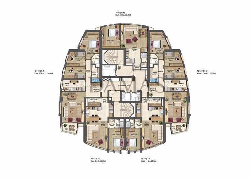 مجمع مجموعة داماس 206 في بورصة - صورة المخطط 08