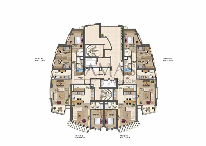 مجمع مجموعة داماس 206 في بورصة - صورة المخطط 09